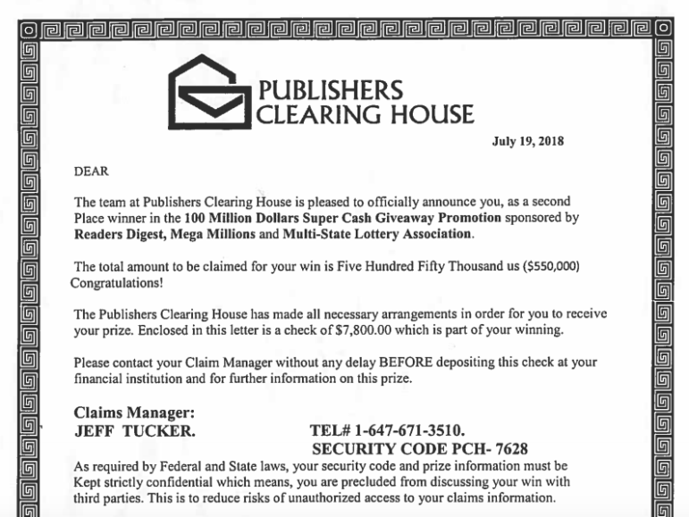 Publishers Clearinghouse Scam 2018