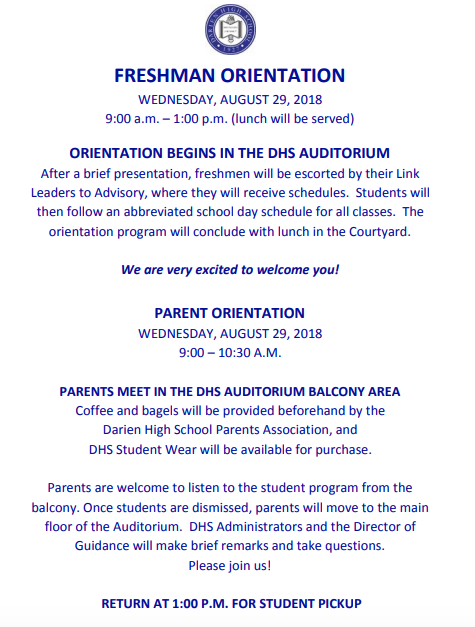 Announcement freshmen orientation