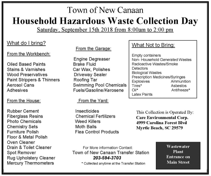 Household Hazardous Waste Day New Canaan 2018