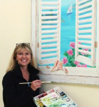 Vicki French Smith and painting Darien Nature Ctr