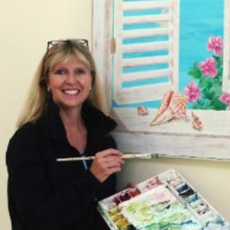 Vicki French Smith publicity photo from Darien Nature Ctr website for exhibit Sept 2018