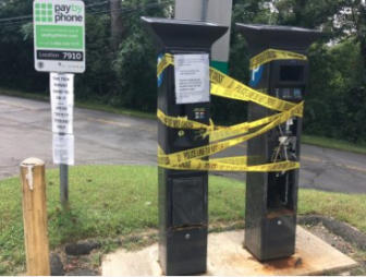 Vandalized pay stations Talmadge Hill Railroad Station Train Station