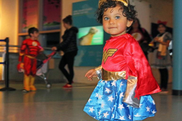 Cute kid in Halloween costume Maritime Aquarium