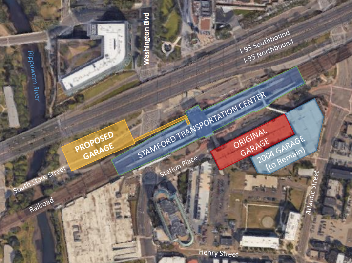 ConnDOT slide for some presentation 2018 proposed parking garage Stamford railroad station