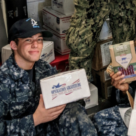 Operation Gratitude care package and soldier