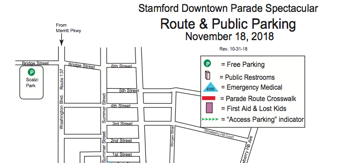 Stamford Downtown Parade Spectacular 2018 map top
