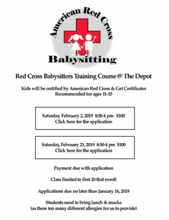American Red Cross Babysitting Course Feb 2019 Depot