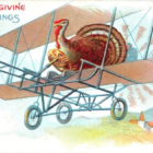 Turkey on a biplane for Thanksgiving postcard 1912