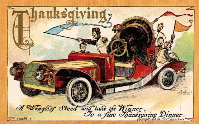 Thanksgiving turkey driving 1908