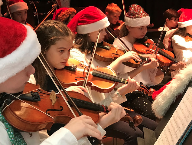 Holiday concerts violin players Darien Music Department