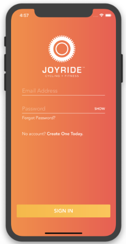 The JoyRide app what it looks like