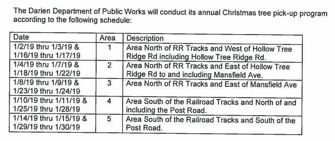 Christmas Tree Pickup Schedule 2019