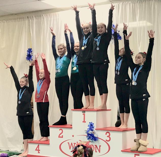 Darien YMCA Level 7 gymnasts in Wilton