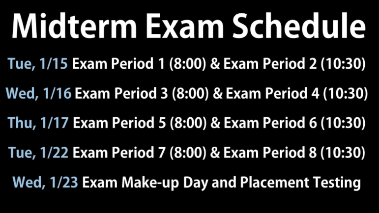 Darien High School midterm exams schedule January 2019