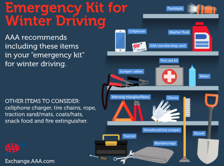 Emergency Kit for Driving AAA infographic 2019