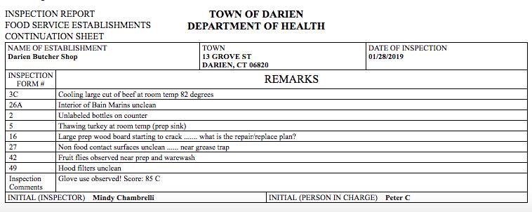 H.D. inspection Darien Butcher Shop Jan 28 2019