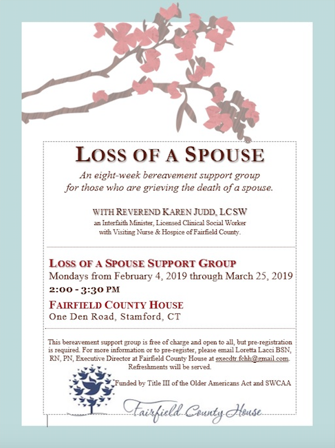 Loss of a Spouse Support Group at Fairfield County House 2019