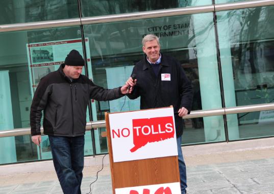 Bob Stefanowski no tolls rally protest