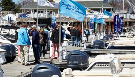 Greenwich Boat Show dock crowds 2019