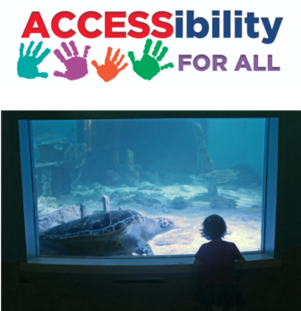 Accessibility for All plus pic kid and sea turtle Maritime Aquarium 2019