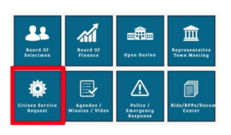 Citizen Service Request button on the Town Website