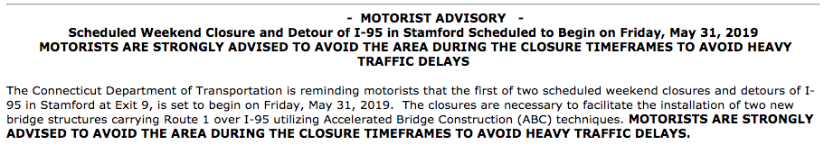 News release excerpt ConnDOT May 16