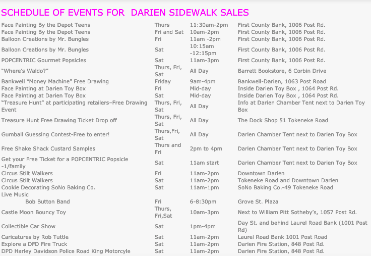 Schedule Sidewalk Sale Days 2019