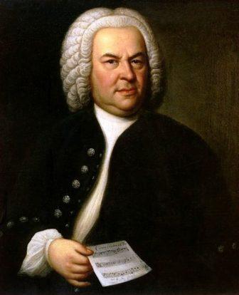 Johann Sebastian Bach portrait head hand
