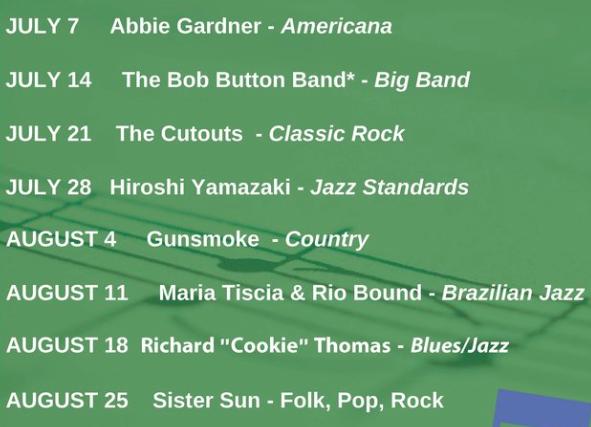 Music @ the Bartlett summer concert series list