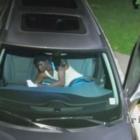 Surveillance video suspected thief in vehicle