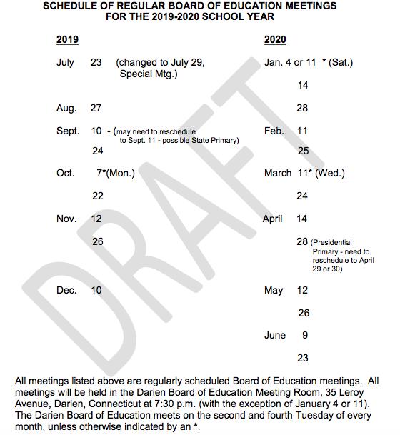 Draft BoE meeting schedule for 2019-2020