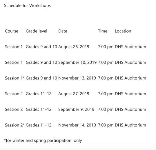 Illegal substances workshop schedule 2019 dhs