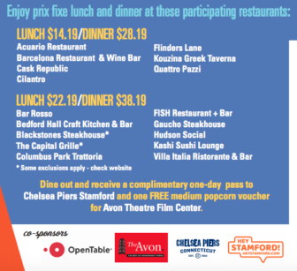 Stamford Downtown Restaurant Weeks 2019 second publicity image