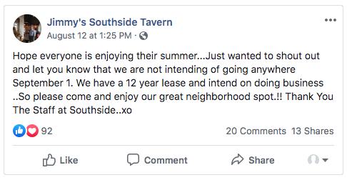 Tweet Jimmy's Southside Tavern