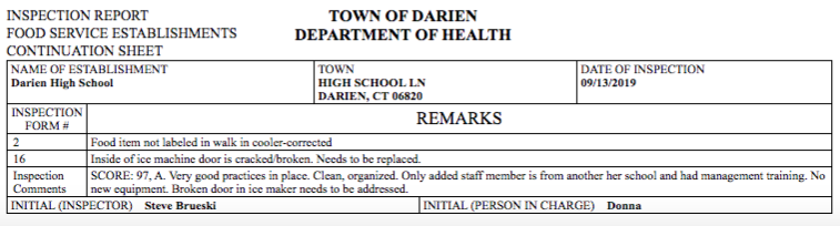 DHS health inspection report Sept 13 2019