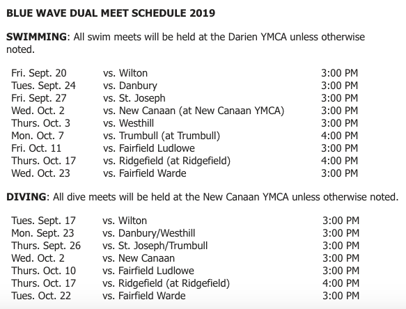 Swim Dive Team Schedule 2019