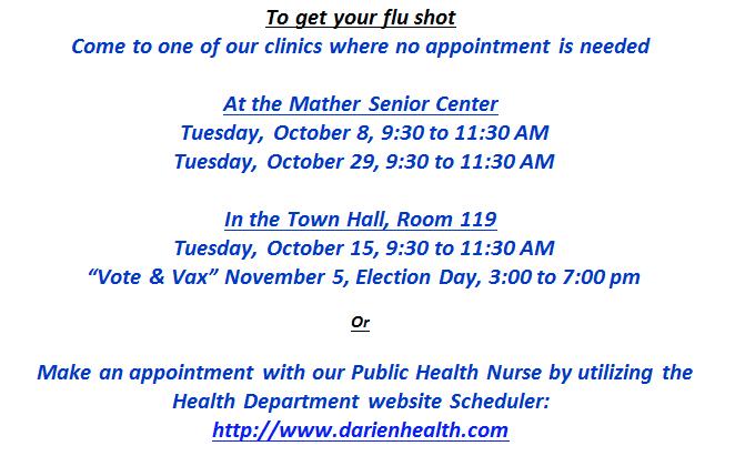 Flu Clinics Darien Health Dept. 2019