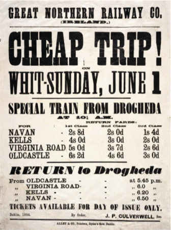 Irish poster train times 1854