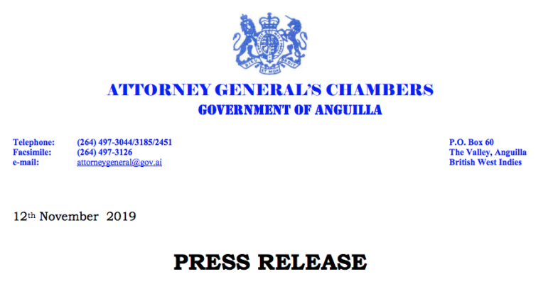 Anguilla Attorney Generals Chambers Nov 12, 2019 news release re Scott Hapgood