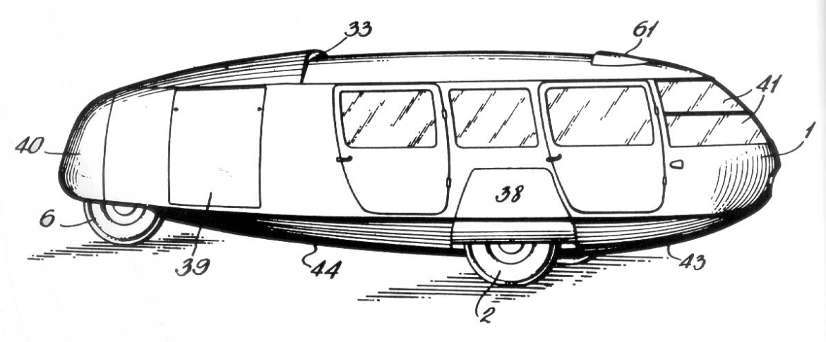 Dymaxion car patent http://www.washedashore.com/projects/dymax/patent/patent_fig1.jpg