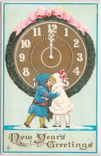 Postcard New Year's Day Eve children clock