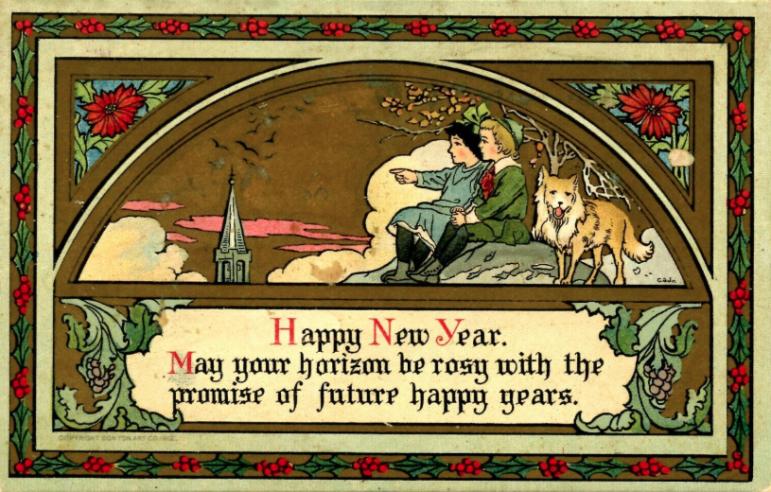 New Year's Day Eve postcard 1912 Bon Ton Art Co. children