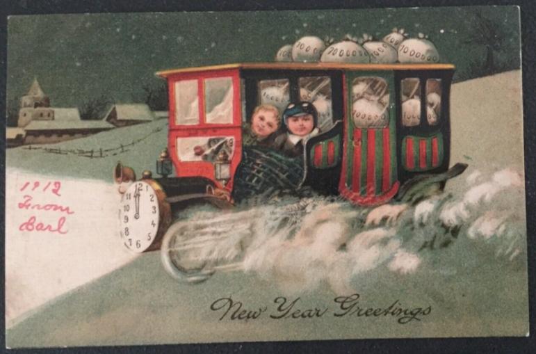 New Year's Postcard children money 1912