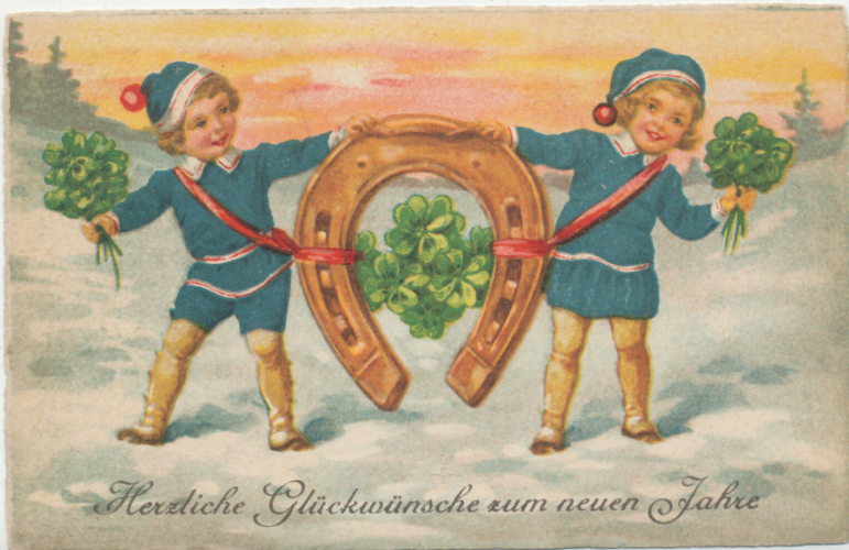 New Year's horseshoe children shamrocks 1910 postcard