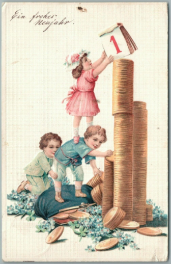 New Year's Day Eve postcard children early 20th century