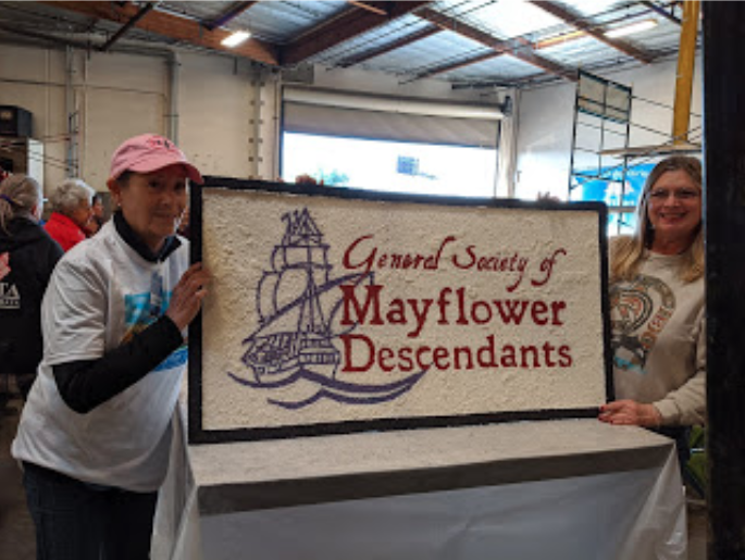 The sign General Society of Mayflower Descendants Rose Parade 2020 Carol Wilder-Tamme