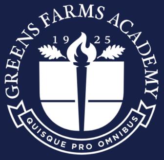 Greens Farms Academy dark blue white logo square thumbnail