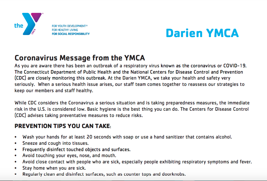Darien YMCA Coronavirus Statement Part 1 (top)