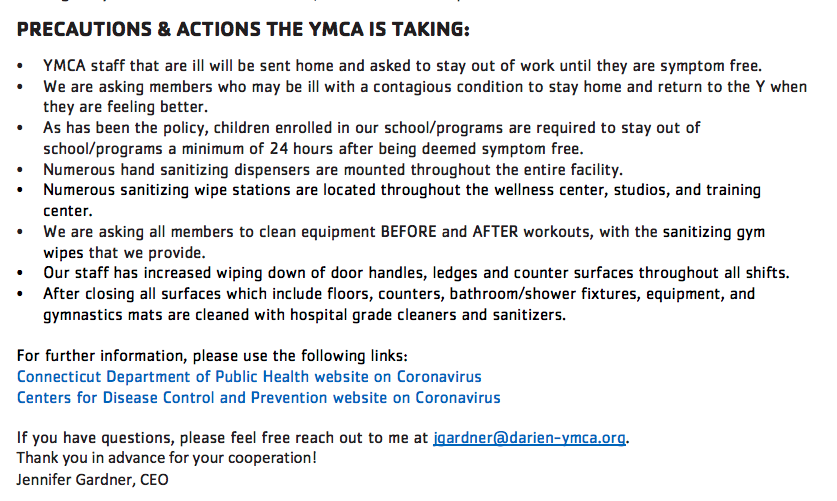 Darien YMCA Coronavirus Statement Part 2 (bottom)