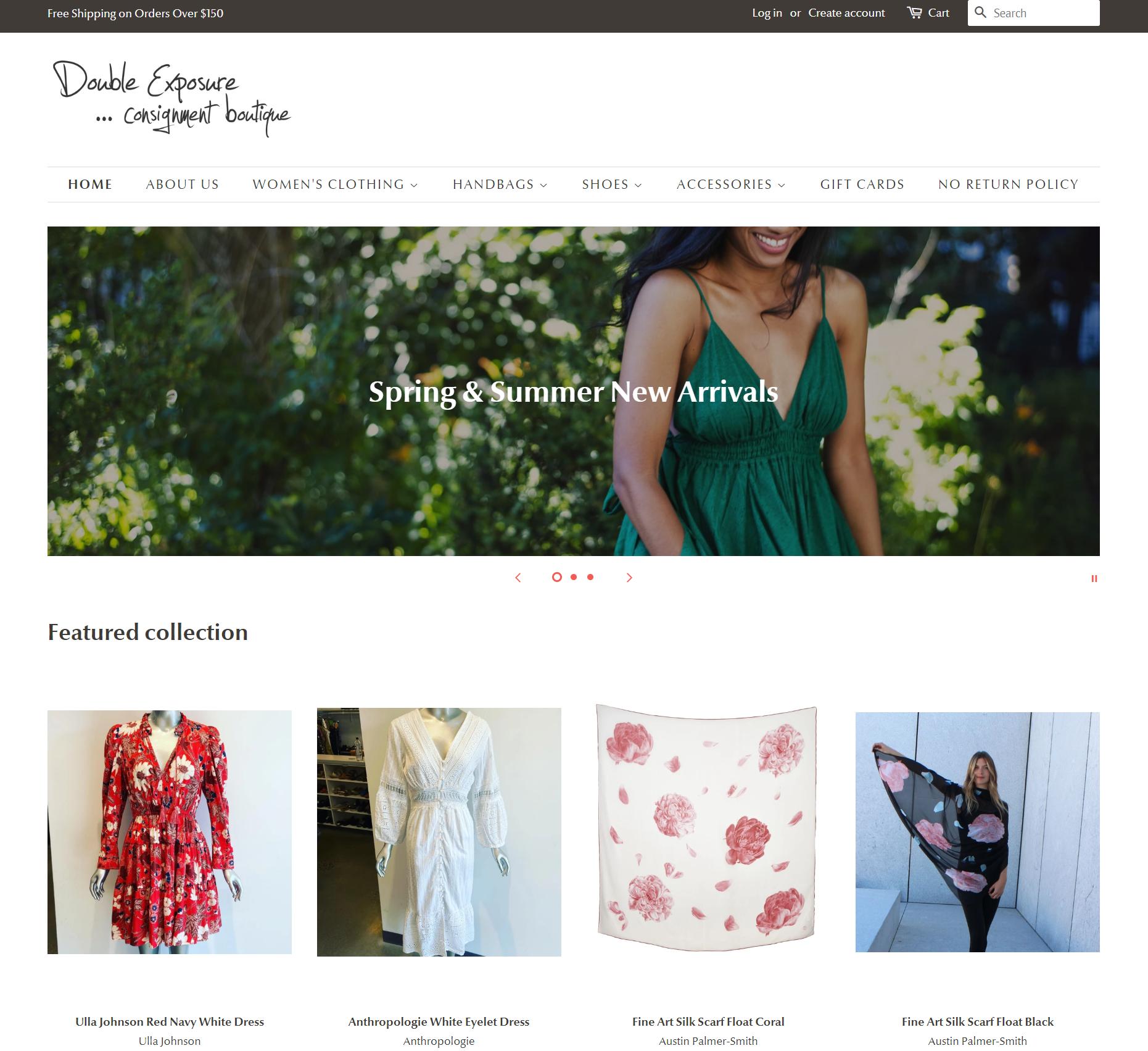 Double Exposure boutique e-commerce website online sales